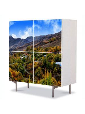Comoda cu 4 Usi Art Work Peisaje Dealuri, 84 x 84 cm