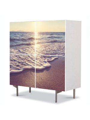 Comoda cu 4 Usi Art Work Peisaje Dimineata pe plaja, 84 x 84 cm
