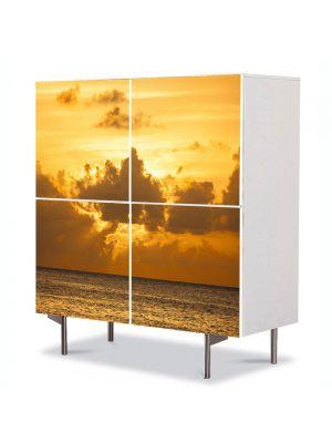 Comoda cu 4 Usi Art Work Peisaje Soare dupa nori, 84 x 84 cm