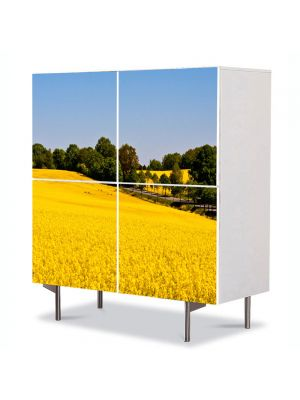 Comoda cu 4 Usi Art Work Peisaje Campie galbena, 84 x 84 cm