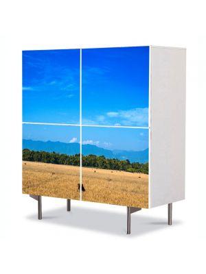 Comoda cu 4 Usi Art Work Peisaje Maro si albastru, 84 x 84 cm