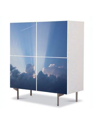 Comoda cu 4 Usi Art Work Peisaje Raze prin nori, 84 x 84 cm