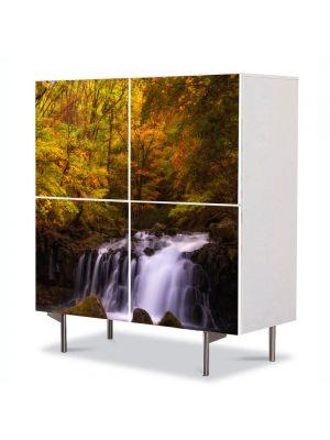 Comoda cu 4 Usi Art Work Peisaje Cascada in padure, 84 x 84 cm