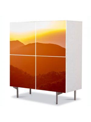 Comoda cu 4 Usi Art Work Peisaje Siluete de dealuri, 84 x 84 cm