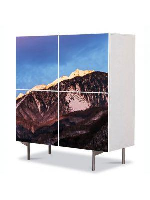 Comoda cu 4 Usi Art Work Peisaje Munti maro, 84 x 84 cm