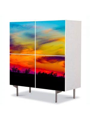 Comoda cu 4 Usi Art Work Peisaje Culorile apusului, 84 x 84 cm