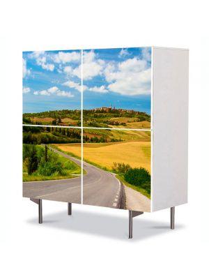 Comoda cu 4 Usi Art Work Peisaje Drum national, 84 x 84 cm