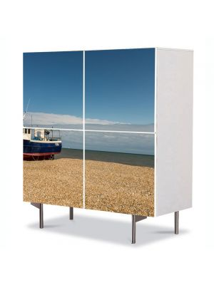 Comoda cu 4 Usi Art Work Peisaje Barca esuata, 84 x 84 cm