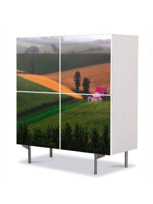 Comoda cu 4 Usi Art Work Peisaje Casa pe campie, 84 x 84 cm