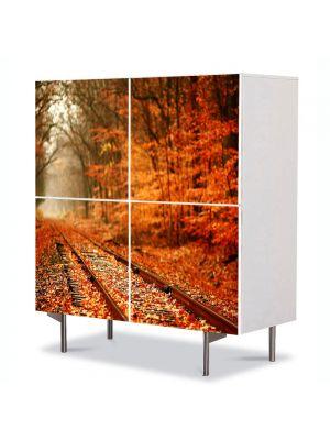 Comoda cu 4 Usi Art Work Peisaje Vesnic, 84 x 84 cm
