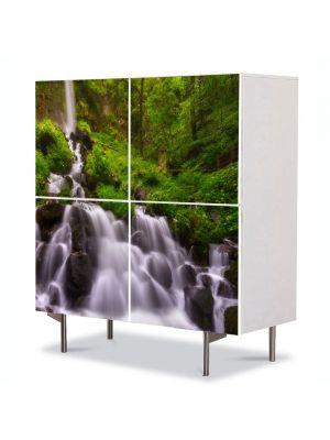 Comoda cu 4 Usi Art Work Peisaje Firicele de apa, 84 x 84 cm