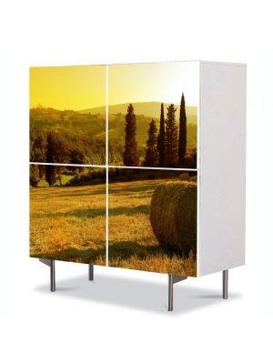 Comoda cu 4 Usi Art Work Peisaje Baloti de fan, 84 x 84 cm