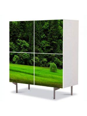 Comoda cu 4 Usi Art Work Peisaje Copacel pe campie, 84 x 84 cm