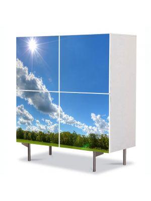 Comoda cu 4 Usi Art Work Peisaje In amiaza mare, 84 x 84 cm