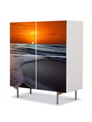 Comoda cu 4 Usi Art Work Peisaje Soare sub apa, 84 x 84 cm