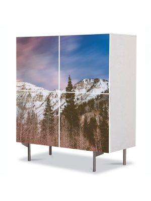 Comoda cu 4 Usi Art Work Peisaje Brazi de munte, 84 x 84 cm