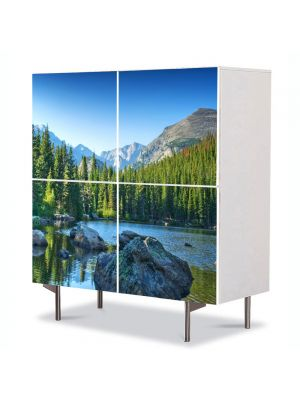 Comoda cu 4 Usi Art Work Peisaje Norvegia, 84 x 84 cm