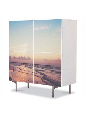 Comoda cu 4 Usi Art Work Peisaje Ponton pe ocean, 84 x 84 cm