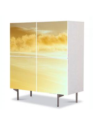 Comoda cu 4 Usi Art Work Peisaje Galben pai, 84 x 84 cm