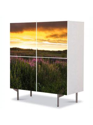 Comoda cu 4 Usi Art Work Peisaje Flori de camp, 84 x 84 cm