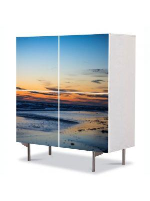 Comoda cu 4 Usi Art Work Peisaje Plaja pustie, 84 x 84 cm