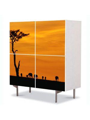 Comoda cu 4 Usi Art Work Peisaje Africa, 84 x 84 cm