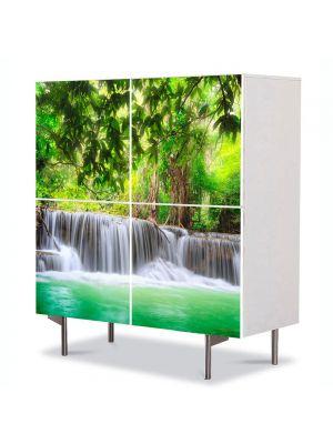 Comoda cu 4 Usi Art Work Peisaje Cascade multiple, 84 x 84 cm
