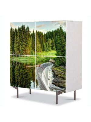Comoda cu 4 Usi Art Work Peisaje Cascada mare, 84 x 84 cm