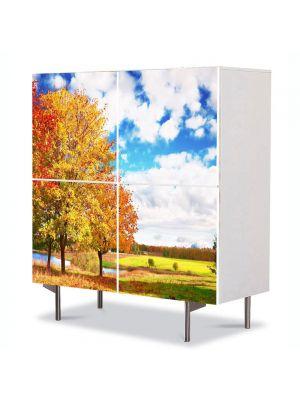 Comoda cu 4 Usi Art Work Peisaje Peisaj de toamna, 84 x 84 cm