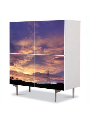 Comoda cu 4 Usi Art Work Peisaje Nori, 84 x 84 cm