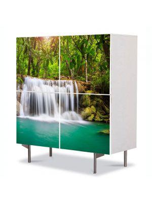 Comoda cu 4 Usi Art Work Peisaje Cascada in jungla, 84 x 84 cm