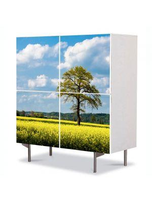 Comoda cu 4 Usi Art Work Peisaje Copac batran, 84 x 84 cm
