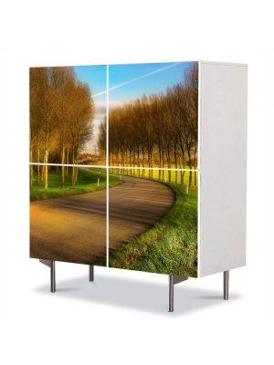 Comoda cu 4 Usi Art Work Peisaje Drum printre puieti, 84 x 84 cm