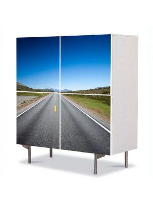 Comoda cu 4 Usi Art Work Peisaje Linie dreapta, 84 x 84 cm