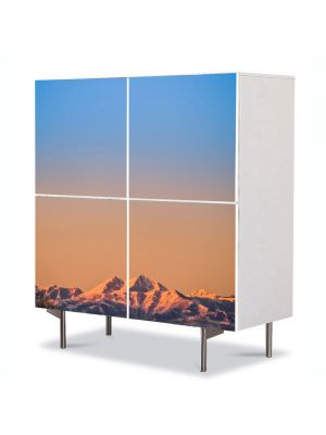 Comoda cu 4 Usi Art Work Peisaje Linia muntilor, 84 x 84 cm