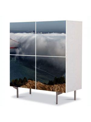 Comoda cu 4 Usi Art Work Peisaje Pod in nori, 84 x 84 cm