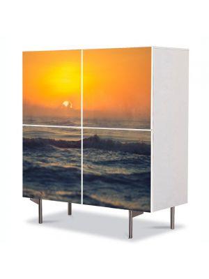 Comoda cu 4 Usi Art Work Peisaje Mare agitata la apus, 84 x 84 cm
