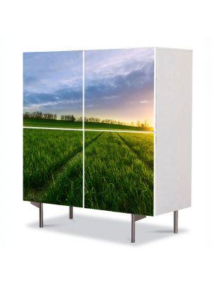 Comoda cu 4 Usi Art Work Peisaje Carari prin campie, 84 x 84 cm