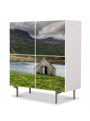 Comoda cu 4 Usi Art Work Peisaje Cabanuta, 84 x 84 cm