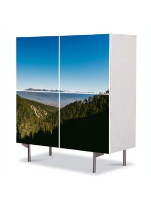 Comoda cu 4 Usi Art Work Peisaje Brazi peste dealuri, 84 x 84 cm