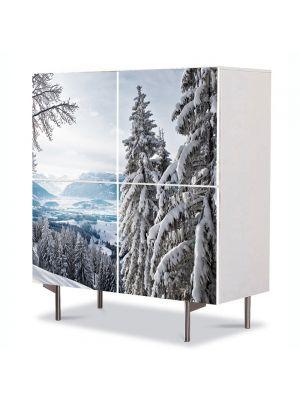 Comoda cu 4 Usi Art Work Peisaje Brazi inzapeziti, 84 x 84 cm