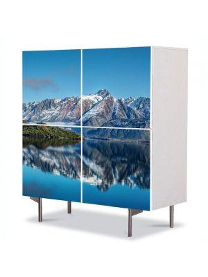 Comoda cu 4 Usi Art Work Peisaje Munti peste ape, 84 x 84 cm