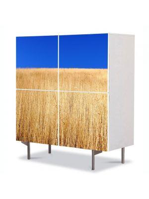 Comoda cu 4 Usi Art Work Peisaje Lan de grau sub cerul albastru, 84 x 84 cm