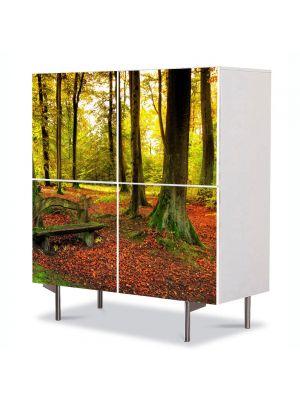 Comoda cu 4 Usi Art Work Peisaje Covor rosiatic, 84 x 84 cm