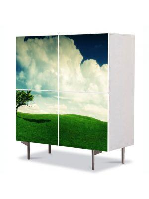 Comoda cu 4 Usi Art Work Peisaje Copacel, 84 x 84 cm