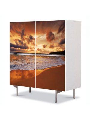 Comoda cu 4 Usi Art Work Peisaje Valuri, 84 x 84 cm