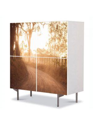 Comoda cu 4 Usi Art Work Peisaje Drum de tara, 84 x 84 cm