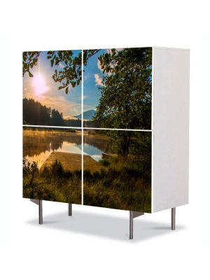 Comoda cu 4 Usi Art Work Peisaje Linie de brazi, 84 x 84 cm
