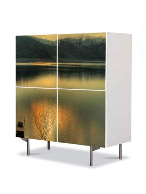 Comoda cu 4 Usi Art Work Peisaje Apusul in lac, 84 x 84 cm