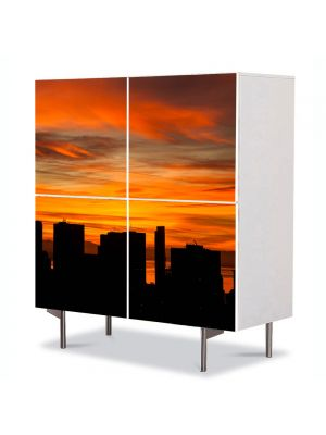 Comoda cu 4 Usi Art Work Peisaje Blocuri inalte, 84 x 84 cm